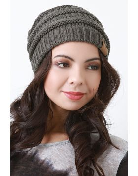 Solid Ridged Knit Beanie -  Gray