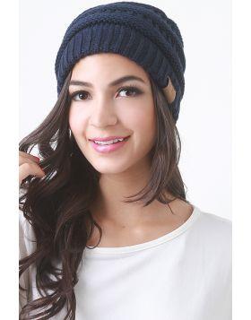Solid Ridged Knit Beanie -  Navy