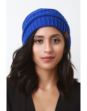 Solid Ridged Knit Beanie -  Royal Blue