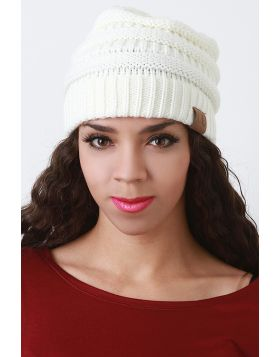 Solid Ridged Knit Beanie -  Ivory