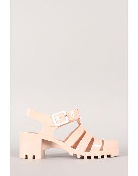 Bamboo Jelly Chunky Heel Round Toe Sandal