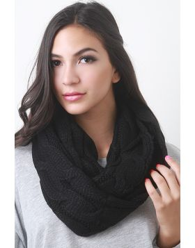 Interwoven Crochet Infinity Scarf -  Black