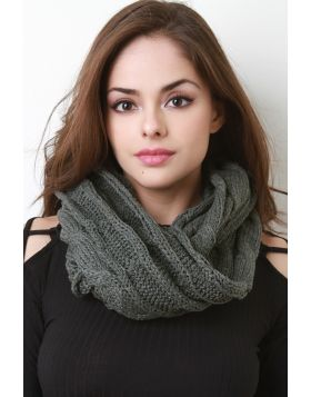 Interwoven Crochet Infinity Scarf -  Dark Gray