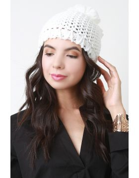 Loose Knit Pom Pom Beanie -  White