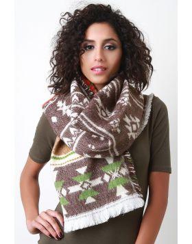 Multicolor Tribal Knit Scarf -  Beige Multi