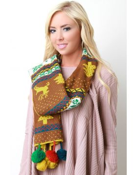 Colorful Pine Tree Scarf -  Mustard