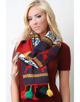 Colorful Pine Tree Scarf -  Navy