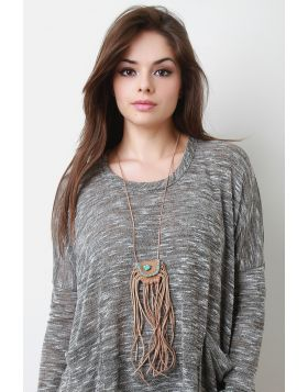 Fringed Mini Pouch Necklace -  Brown