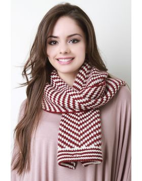 Chevron Conveyor Pattern Buttoned Scarf -  Burgundy