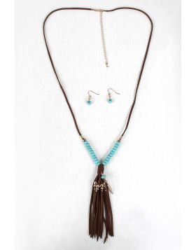 Beads And Feather Suede Fringe Necklace Set -  Brown