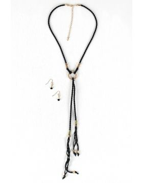 Braided Cube Beads Vegan Leather Necklace Set -  Black