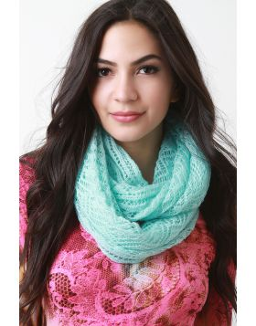 Ethereal Fine Knit Fabrication Scarf -  Mint