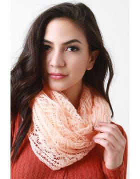 Ethereal Fine Knit Fabrication Scarf -  Peach