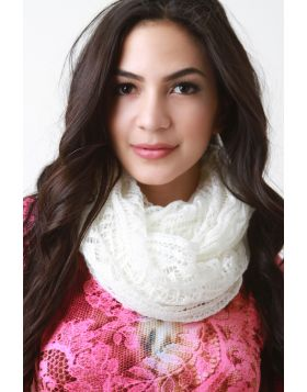 Ethereal Fine Knit Fabrication Scarf -  Ivory