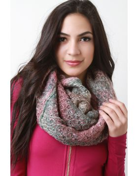 Condo Knit Fluff Infinity Scarf -  Pink Multi