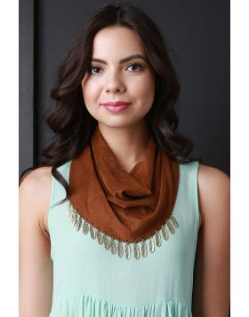 Vegan Suede Feather Charm Scarf -  Brown