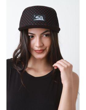 Snapback Polka Dot Cali Flag Cap -  Black/Red