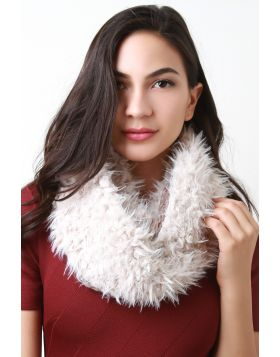 Double Sided Furry and Chunky Knit Circle Scarf -  Beige