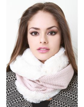 Faux Fur and Knitted Circle Scarf -  Pink