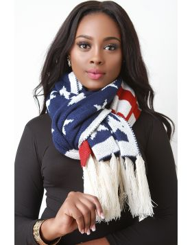 Stars And Stripes Fringe Hem Scarf -  American Flag