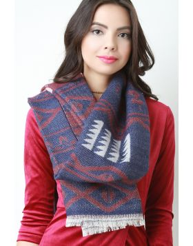Tribal Knit Scarf -  Burgundy Multi