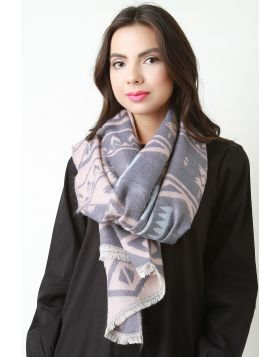 Tribal Knit Scarf -  Pink Multi