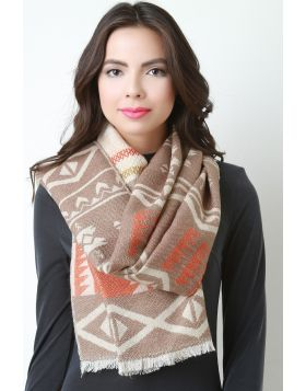Tribal Knit Scarf -  Taupe Multi