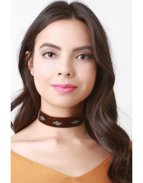 Concho Studs Velvet Choker Necklace -  Brown
