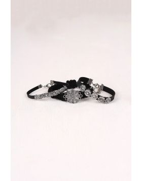 Country Chic Vegan Leather Bracelet Set -  Black