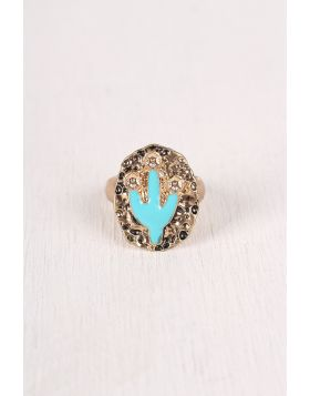 Looking Sharp Cactus Ring -  Gold