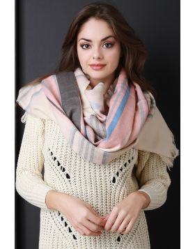 Pastel Plaid Over-sized Scarf -  Pink Multi