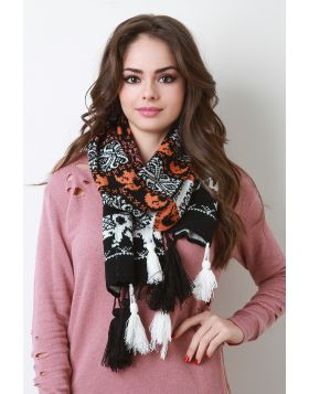 Knitted Elephant Tassel Scarf -  Black Multi