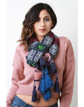 Knitted Elephant Tassel Scarf -  Navy Multi