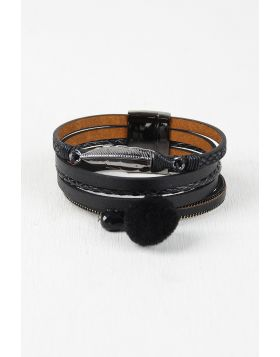 Vegan Leather Multi Band Cuff Bracelet -  Black
