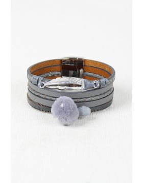 Vegan Leather Multi Band Cuff Bracelet -  Gray