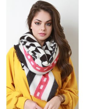 Triangle Print Blanket Scarf -  Black