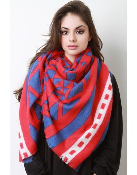 Triangle Print Blanket Scarf -  Red
