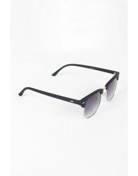Semi-Rimless Wayfarer Design Sunglasses -  Black/Charcoal