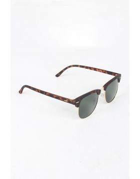 Semi-Rimless Wayfarer Design Sunglasses -  Leopard/Green