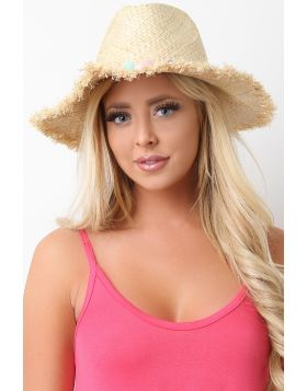 Dangly Pom Pom Frayed Straw Hat -  Beige