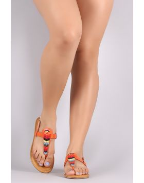 Bamboo Multi-Colored Beaded T-Strap Thong Flat Sandal - Orange Size - 6