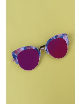 Marble Accent Plastic Frame Cat Eye Mirrored Sunglasses -  Fuchsia