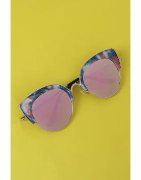 Marble Accent Plastic Frame Cat Eye Mirrored Sunglasses -  Pink