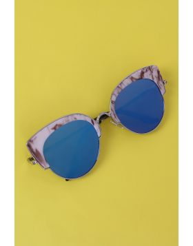 Marble Accent Plastic Frame Cat Eye Mirrored Sunglasses -  Royal Blue