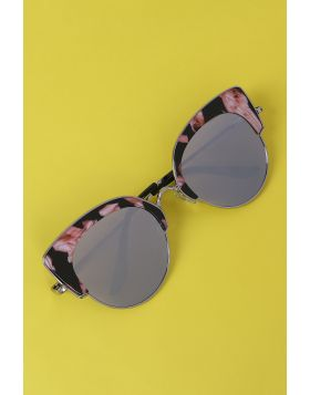 Marble Accent Plastic Frame Cat Eye Mirrored Sunglasses -  Silver
