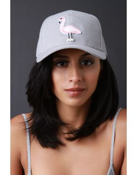 Flamingo Patch Baseball Cap -  Gray