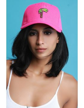 Palm Tree Patch Baseball Cap -  Fuchsia
