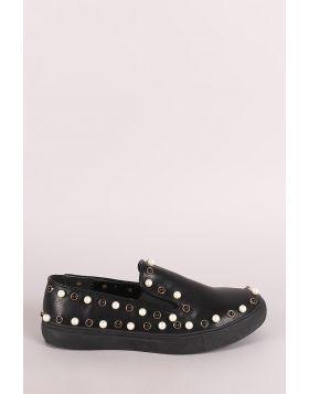 Liliana Faux Pearls Embellished Slip-On Sneaker