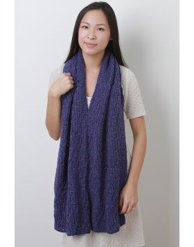 Loose Marled Knit Shawl Scarf -  Purple