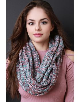 Multi Tone Cable Knit Infinity Scarf -  Mint Multi